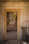 Building interior at the historic gold mining ghost town of Bodie, California, a California State Park