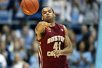 CHAPEL HILL, NC - FEBRUARY 1: Steffon Mitchell #41 of Boston College passes the ball during a game between Boston College and North Carolina at Dean E. Smith Center on February 1, 2020 in Chapel Hill, North Carolina.