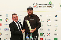 Shane Lowry (IRL) gets awarded Honoury Membership from Paddy McDermott, Captain of Ballyliffin Golf Club at a press conference during the preview to the Dubai Duty Free Irish Open, Ballyliffin Golf Club, Ballyliffin, Co Donegal, Ireland.<br /> Picture: Golffile | Jenny Matthews<br /> <br /> <br /> All photo usage must carry mandatory copyright credit (&copy; Golffile | Jenny Matthews)