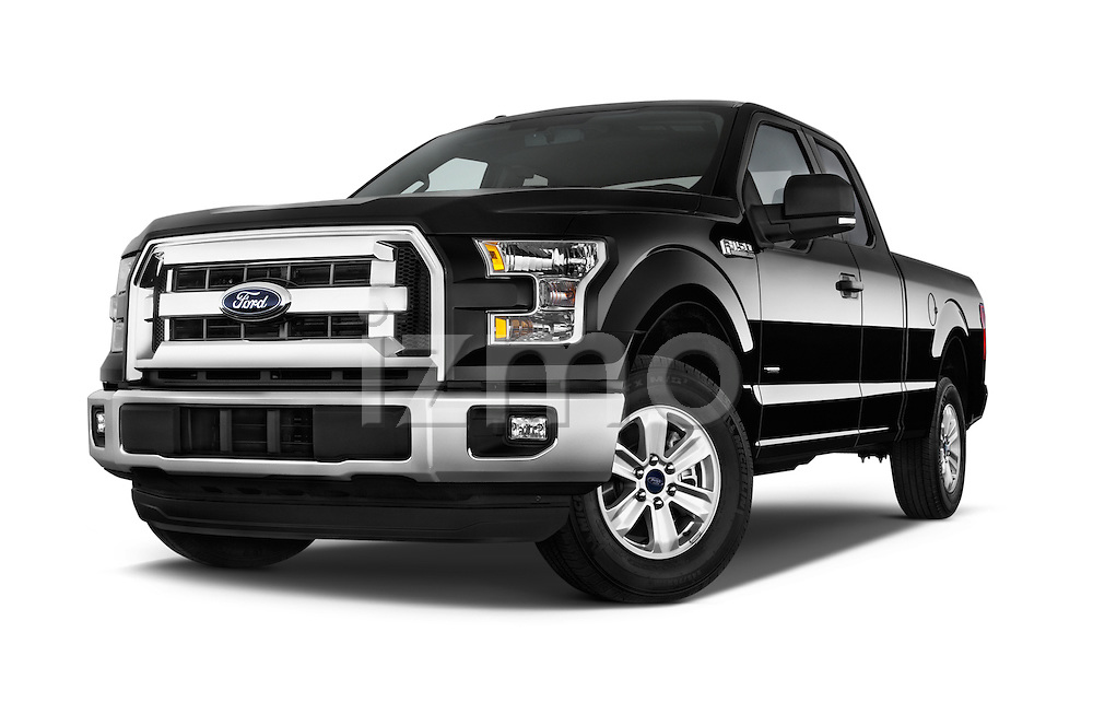 Low Aggressive Front Three Quarter View of 2015 Ford F-150 XLT SuperCab 2 Door TruckStock Photo