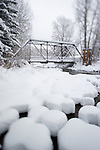 Pedestrain bridge over the Roaring Fork River in Aspen, Colorado.
