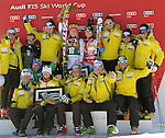 November 29, 2013 - Beaver Creek, Colorado, U.S. - The Swiss team celebrates Lara Gut's victory in the ladies downhill competition on Vail/Beaver Creek's new women's Raptor race course, Beaver Creek, Colorado.