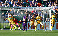 3rd November 2019; HBF Park, Perth, Western Australia, Australia; A League Football, Perth Glory versus Central Coast Mariners; Ivan Frantic of the Perth Glory sees his shot on goal blocked by Ziggy Gordon of the Central Coast Mariners - Editorial Use