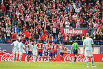 Atletico de Madrid's players celebrating a goal during La Liga Match at Vicente Calderon Stadium in Madrid. May 14, 2016. (ALTERPHOTOS/BorjaB.Hojas)