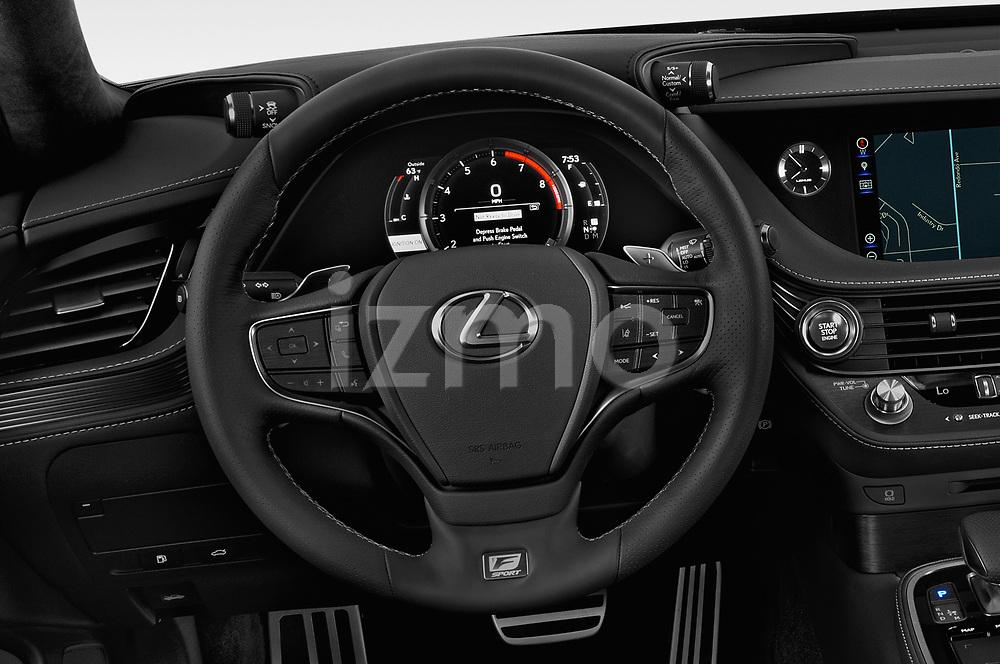 Car pictures of steering wheel view of a 2018 Lexus LS 500 F-SPORT 4 Door Sedan