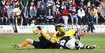 Jon Daly heads in to score for Dundee Utd as Dundee keeper Rab Douglas watches the ball sail into his net