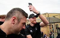 Lincoln City's Matt Gilks, left, and with team-mate Cian Bolger during the open top bus tour to celebrate the club winning the EFL Sky Bet League Two<br /> <br /> Photographer Andrew Vaughan/CameraSport<br /> <br /> The EFL Sky Bet League Two - Lincoln City - Champions Parade - Sunday 5th May 2019 - Lincoln<br /> <br /> World Copyright © 2019 CameraSport. All rights reserved. 43 Linden Ave. Countesthorpe. Leicester. England. LE8 5PG - Tel: +44 (0) 116 277 4147 - admin@camerasport.com - www.camerasport.com