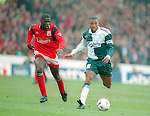 Chris Bart Williams chases John Barnes of Liverpool - Premier League - Nottingham Forest v Liverpool - City Ground - Nottingham - England - 23rd March 1996 - Picture Simon Bellis/Sportimage