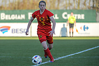 20191204 - TUBEKE , BELGIUM : Belgian (3) Emely Schapdryver pictured during the international friendly female soccer game between the Belgian Flames U15 and Germany , Wednesday 4 th December 2019 at the Belgian Football Centre, Tubeke / Tubize , Belgium. PHOTO SPORTPIX.BE | STIJN AUDOOREN