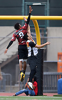 May 24, 2015; Los Angeles, CA, USA; Los Angeles Aviators cutter Husayn Carnegie (9) is defended by San Francisco Flamethrowers cutter Patrick Lahey (52) in an American Ultimate Disc League (AUDL) match at Occidental College. The Aviators defeated the Flamethrowers 23-22. <br /> <br /> Photo by Kirby Lee