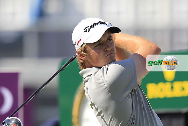 Eddie PEPPERELL (ENG) tees off the 1st tee to start his match during Saturday's Final Round of the 2015 Commercial Bank Qatar Masters held at Doha Golf Club, Doha, Qatar.: Picture Eoin Clarke, www.golffile.ie: 1/24/2015