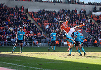 Blackpool's Armand Gnanduillet scores his sides second goal <br /> <br /> Photographer Mick Walker/CameraSport<br /> <br /> The EFL Sky Bet League One - Blackpool v Fleetwood Town - Saturday 14th April 2018 - Bloomfield Road - Blackpool<br /> <br /> World Copyright &copy; 2018 CameraSport. All rights reserved. 43 Linden Ave. Countesthorpe. Leicester. England. LE8 5PG - Tel: +44 (0) 116 277 4147 - admin@camerasport.com - www.camerasport.com