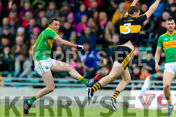 Michael Moloney  Dr Crokes in action against Brendan O'Sullivan South Kerry in the Senior County Football Final in Austin Stack Park on Sunday