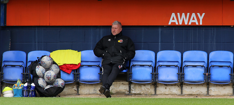 Blackpool's Manager Terry McPhillips surveys Kenilworth Road from the away dugout<br /> <br /> Photographer David Shipman/CameraSport<br /> <br /> The EFL Sky Bet League One - Luton Town v Blackpool - Saturday 6th April 2019 - Kenilworth Road - Luton<br /> <br /> World Copyright © 2019 CameraSport. All rights reserved. 43 Linden Ave. Countesthorpe. Leicester. England. LE8 5PG - Tel: +44 (0) 116 277 4147 - admin@camerasport.com - www.camerasport.com