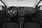 Stock photo of straight dashboard view of a 2015 Nissan Versa 1.6 Sv Cvt 4 Door Sedan
