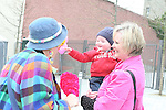 Poppy the Clown with Pierce and Aoife Mullen at the West Street Wonderland...Photo NEWSFILE/Jenny Matthews.(Photo credit should read Jenny Matthews/NEWSFILE)....This Picture has been sent you under the condtions enclosed by:.Newsfile Ltd..The Studio,.Millmount Abbey,.Drogheda,.Co Meath..Ireland..Tel: +353(0)41-9871240.Fax: +353(0)41-9871260.GSM: +353(0)86-2500958.email: pictures@newsfile.ie.www.newsfile.ie.FTP: 193.120.102.198.