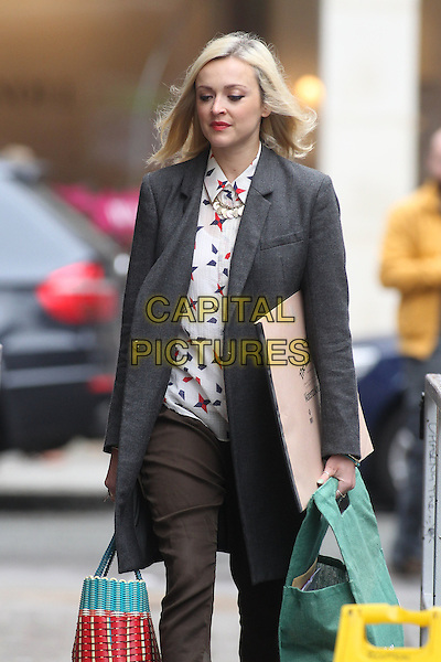 Fearne Cotton in central London, England..June 21st, 2012.half 3/4 length grey gray coat white blue red print blouse shirt brown trousers bags shopping   .CAP/HIL.©John Hillcoat/Capital Pictures.