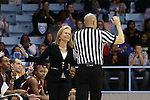 12 February 2015: FSU head coach Sue Semrau (left) talks with referee Daryl Humphrey (right). The University of North Carolina Tar Heels hosted the Florida State University Seminoles at Carmichael Arena in Chapel Hill, North Carolina in a 2014-15 NCAA Division I Women's Basketball game. UNC won the game 71-63.