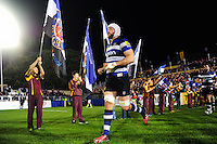 Dave Attwood and the rest of the Bath Rugby team run out onto the field. Aviva Premiership match, between Bath Rugby and Sale Sharks on October 7, 2016 at the Recreation Ground in Bath, England. Photo by: Patrick Khachfe / Onside Images