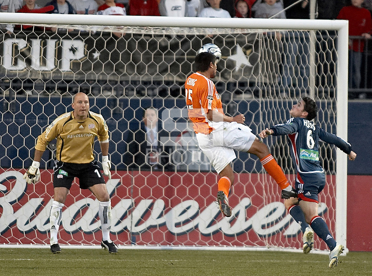 Brian Ching heads in the tying goal.  Houston Dynamo beat the New England Revolution 4-3 to win the MLS Cup at Pizza Hut Park in Frisco, TX on November 12, 2006.