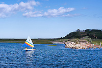 Sunfish sailing in Pamet Harbor, Truro, Cape Cod, Massachusetts, USA