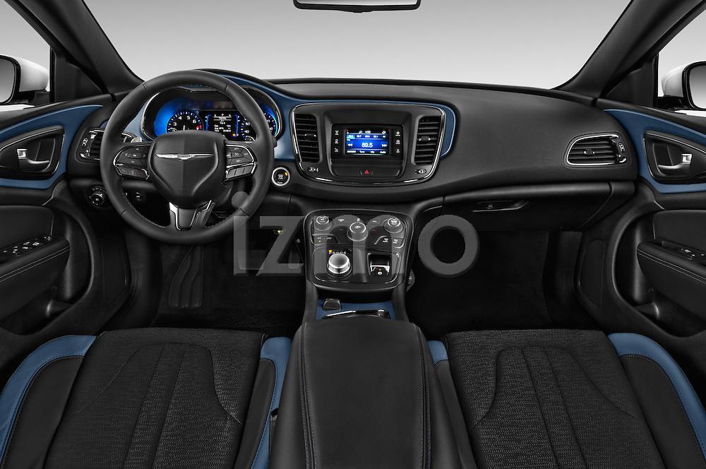 Stock photo of straight dashboard view of 2015 Chrysler 200 S 4 Door Sedan 2WD Dashboard