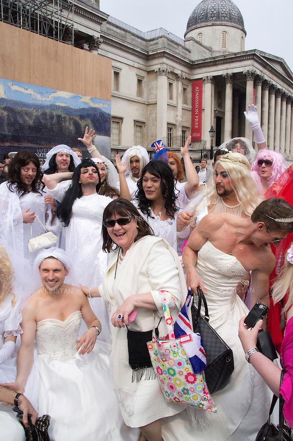 England. London. Trafalgar square. April 2011:  William and Kate Royal wedding. Spectators of the wedding.