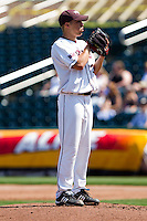 Grant Gordon (35) of the Missouri State Bears looks for the pitch sign during a game against the Wichita State Shockers on April 9, 2011 at Hammons Field in Springfield, Missouri.  Photo By David Welker/Four Seam Images