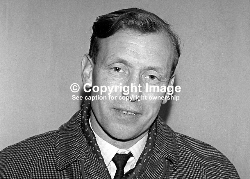 William Boyd, aka Billy Boyd, former MP, N Ireland Parliament, Stormont, Belfast. Member, N Ireland Labour Party. 196510000008a<br /> <br /> Copyright Image from Victor Patterson, 54 Dorchester Park, Belfast, UK, BT9 6RJ<br /> <br /> t1: +44 28 9066 1296 (from Rep of Ireland 048 9066 1296)<br /> t2: +44 28 9002 2446 (from Rep of Ireland 048 9002 2446)<br /> m: +44 7802 353836<br /> <br /> e1: victorpatterson@me.com<br /> e2: victorpatterson@gmail.com<br /> <br /> The use of my copyright images is subject to my Terms &amp; Conditions.<br /> <br /> It is IMPORTANT that you familiarise yourself with them. They are available on my website at www.victorpatterson.com.<br /> <br /> None of my copyright images may be used on a website unless they are visibly watermarked, i.e. &copy; Victor Patterson within the body of the visible image. Metadata denoting my copyright must NOT be deleted. <br /> <br /> Web use (maximum size - 300 kb) is extra at currently recommended NUJ rates.