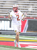 College Park, MD - April 15, 2018: Maryland Terrapins Bubba Fairman (2) calls a play during game between Rutgers and Maryland at  Capital One Field at Maryland Stadium in College Park, MD.  (Photo by Elliott Brown/Media Images International)