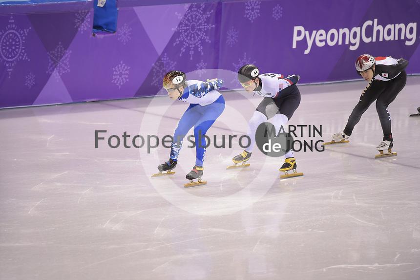 OLYMPIC GAMES: PYEONGCHANG: 17-02-2018, Gangneung Ice Arena, Short Track, 1000m Men, Semen Elistratov (OAR), John-Henry Krueger (USA), Ryosuke Sakazume (JPN), ©photo Martin de Jong