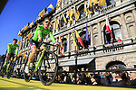 Cannondale-Drapac Pro Team on stage at sign on before the 101st edition of the Tour of Flanders 2017 running 261km from Antwerp to Oudenaarde, Flanders, Belgium. 26th March 2017.<br /> Picture: Eoin Clarke | Cyclefile<br /> <br /> <br /> All photos usage must carry mandatory copyright credit (&copy; Cyclefile | Eoin Clarke)
