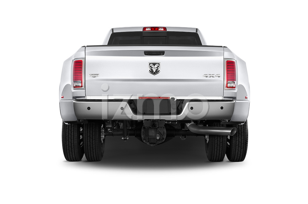 Straight rear view of a 2015 Ram 3500 Laramie 4 Door Van stock images