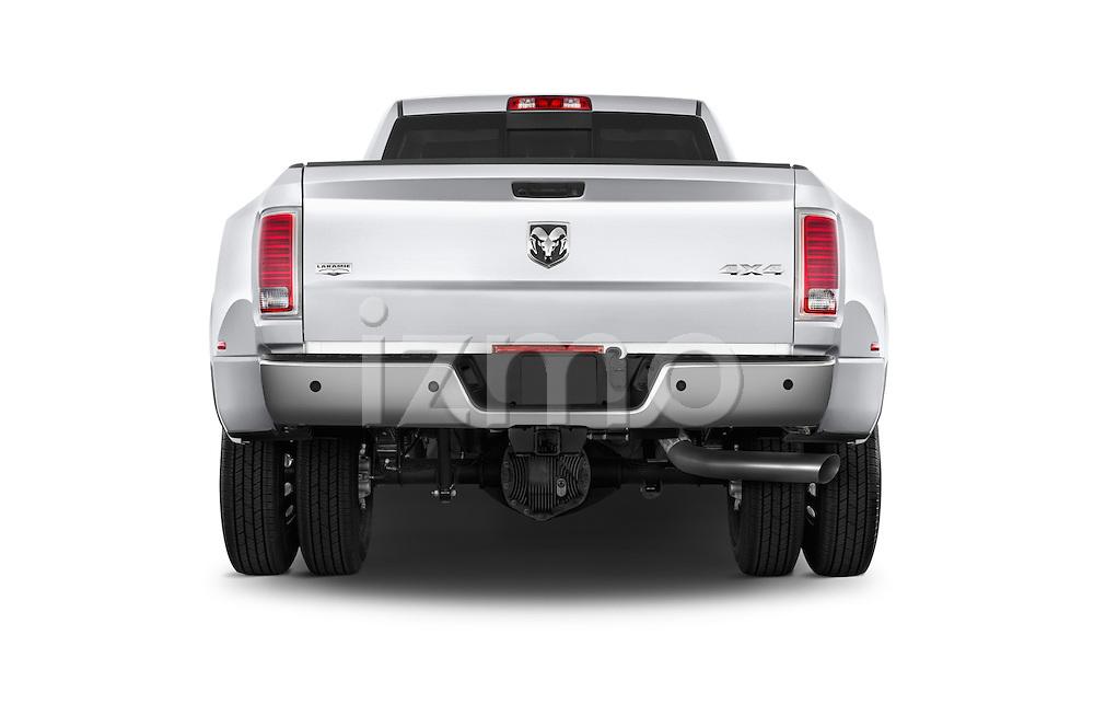 Straight rear view of a 2015 Ram 3500 Laramie 4 Door Van stock images