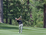Bronson Burgoon hits an approach shot during the Barracuda Championship PGA golf tournament at Montrêux Golf and Country Club in Reno, Nevada on Sunday, July 28, 2019.