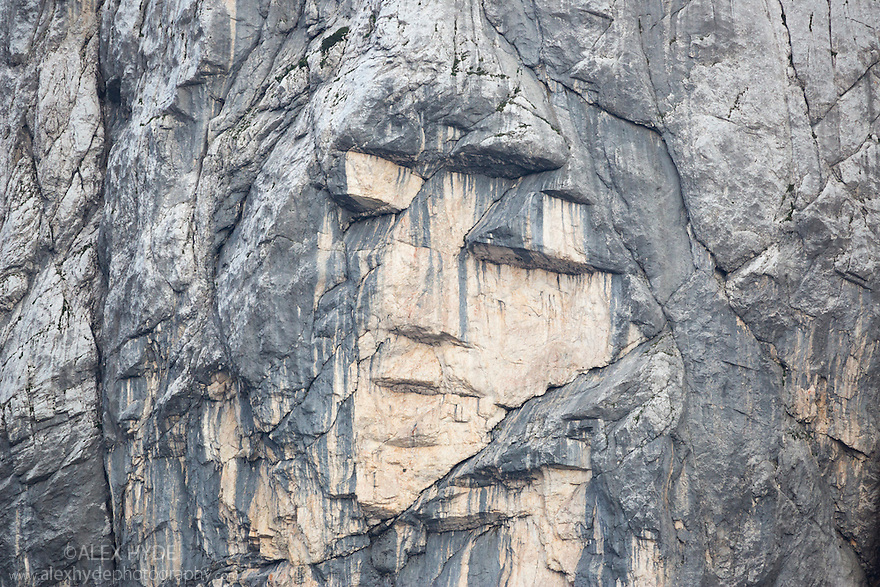 Ajdovska deklica (the Heathen Maiden), a face on the northern rock face of mount Prisojnik. Triglav National Park, Julian Alps, Slovenia. July.