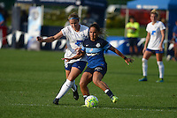 Kansas City, MO - Sunday August 28, 2016: Kathryn Schoepfer, Lo'eau LaBonta during a regular season National Women's Soccer League (NWSL) match between FC Kansas City and the Boston Breakers at Swope Soccer Village.