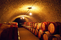 The Tibor Gal (GIA) winery in Eger (famous for Egri Bikaver): underground tunnels with rows of barrels filled with wine. A brand new tunnel recently dug. Tibor Gal is one of the leading growers and wine makers in Eger. The company was founded in 1993 in collaboration with Nicolo Incisa della Rochetta (Sassicaia, Italy) and Alpine from Germany
