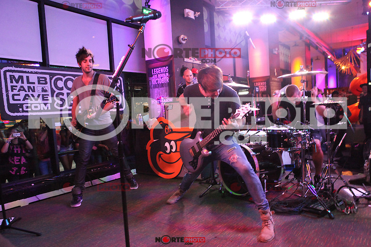 NEW YORK, NY - SEPTEMBER 26: All Time Low performing live at the MLB Fan Cave  in New York City. September 26, 2012. © Diego Corredor/MediaPunch Inc. /NortePhoto.com