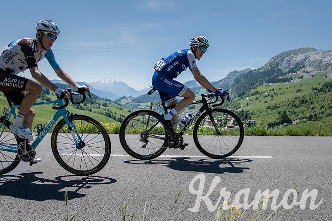 Daniel Martin (IRE/QuickStep Floors) &amp; Romain Bardet (FRA/AG2R-La Mondiale) in tandem up the Col de la Colombi&egrave;re<br /> <br /> 69th Crit&eacute;rium du Dauphin&eacute; 2017<br /> Stage 8: Albertville &gt; Plateau de Solaison (115km)