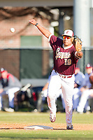 Jose Rodriguez #19 of the College of Charleston Cougars stretches for a wild throw against the Davidson Wildcats at Wilson Field on March 12, 2011 in Davidson, North Carolina.  The Wildcats defeated the Cougars 8-3.  Photo by Brian Westerholt / Four Seam Images