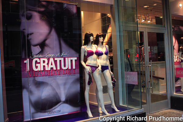 La Senza lingerie boutique  with mannequins in window in downtown Montreal