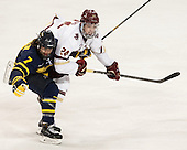 Jonathan Lashyn (Merrimack - 7), Zach Sanford (BC - 24) - The Boston College Eagles defeated the visiting Merrimack College Warriors 2-1 on Wednesday, January 21, 2015, at Kelley Rink in Conte Forum in Chestnut Hill, Massachusetts.