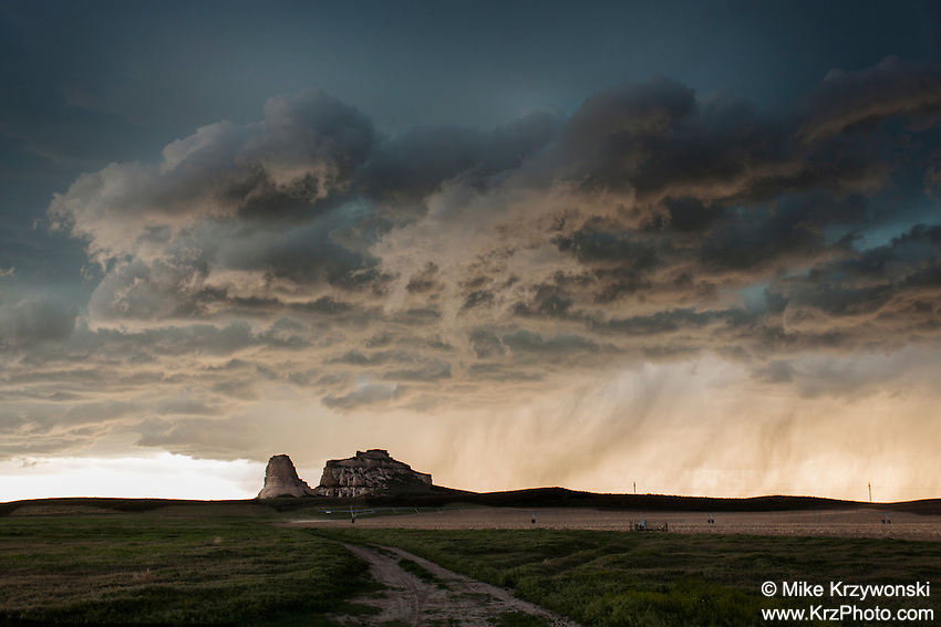 "Thunderstorm clouds at sunset above ""Jail Rock"" & ""Courthouse Rock"" in Nebraska, May 20, 2014"