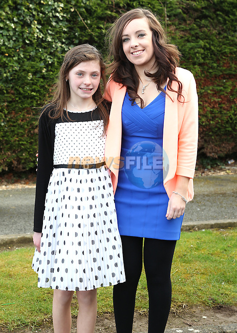 Katie Campbell with her sponsor Nicole Flanagan on Confirmation Day in Tullyallen.<br /> Picture www.newsfile.ie