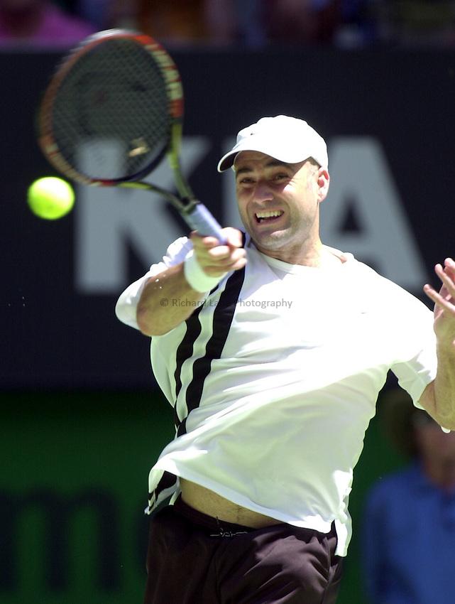 Australian Open Tennis 2003.17/01/2003.Andre Agassi in action against Nicolas Escude.Andre Agassi