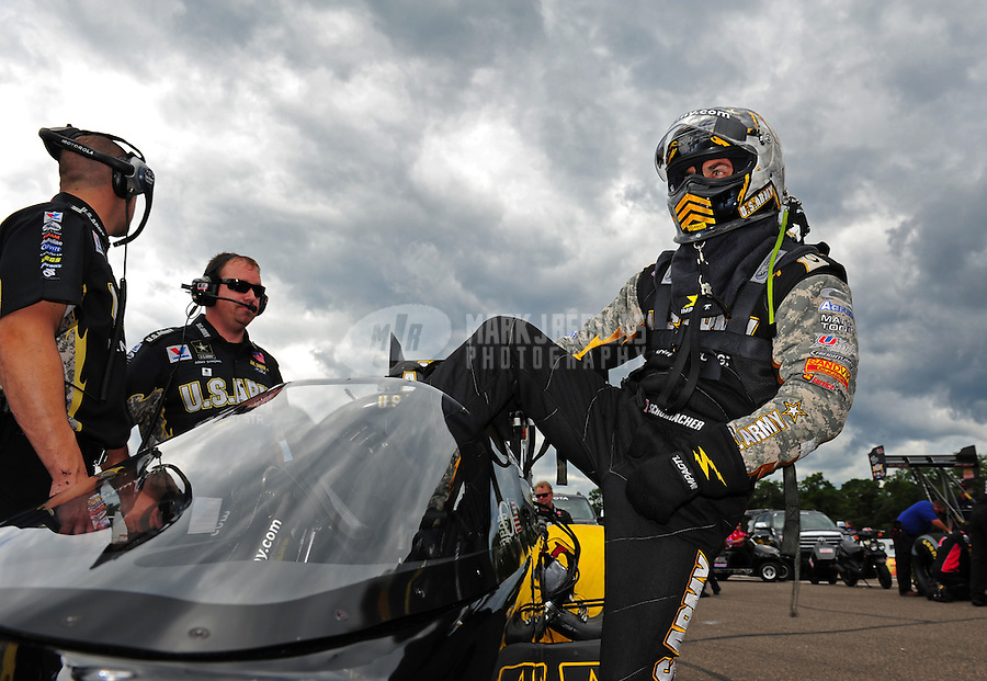 Aug. 21, 2011; Brainerd, MN, USA: NHRA top fuel dragster driver Tony Schumacher during the Lucas Oil Nationals at Brainerd International Raceway. Mandatory Credit: Mark J. Rebilas-