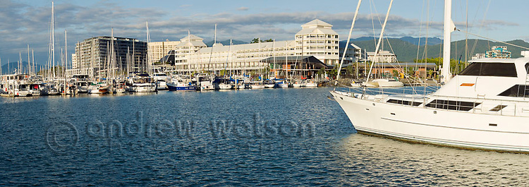 Yachts in Marlin Marina with Shangri-La Hotel at The Pier in background.  Cairns, Queensland, AUSTRALIA
