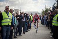 Kenny Dehaes (BEL/Lotto-Belisol) finding his way to the start podium through the crowd<br /> <br /> 102nd Scheldeprijs 2014