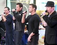 August 17, 2012 Drew Lachey,Nick Lachey, Jeff Timmon,  Justin Jeffre, 98 Degrees perform on the NBC's Today Show Toyota Concert Serie at Rockefeller Center in New York City.Credit:&copy; RW/MediaPunch Inc. /NortePhoto.com<br />